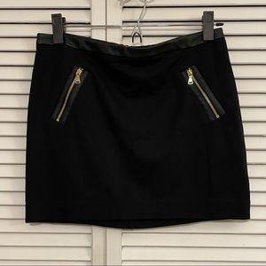 Express Black/Gold Zipper Mini Skirt